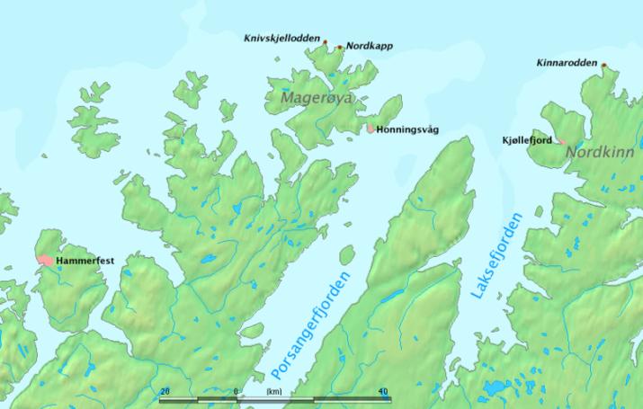 Nordkapp map